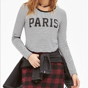 Forever 21 paris black and white striped crop top